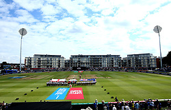 England Women and Australia Women line up for the national anthems ahead of their Women's World Cup Group match at Bristol - Mandatory by-line: Robbie Stephenson/JMP - 09/07/2017 - CRICKET - Bristol County Ground - Bristol, United Kingdom - England v Australia - ICC Women's World Cup match 19