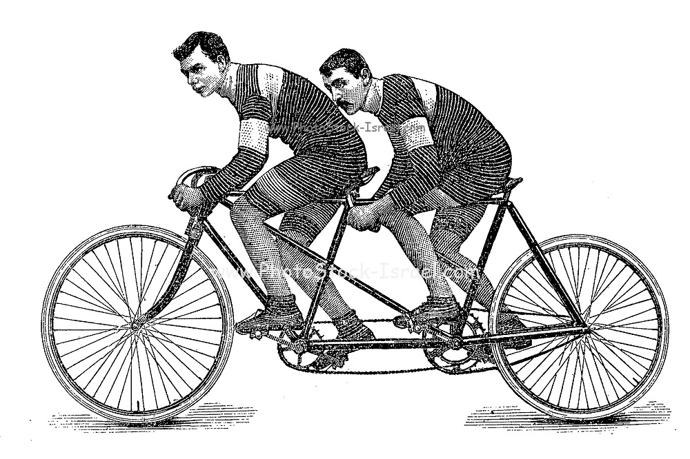Tandem riders racing on a bicycle from On the road to health and happiness by Charles A. Vogeler Company [Advertising] Publication date 1897