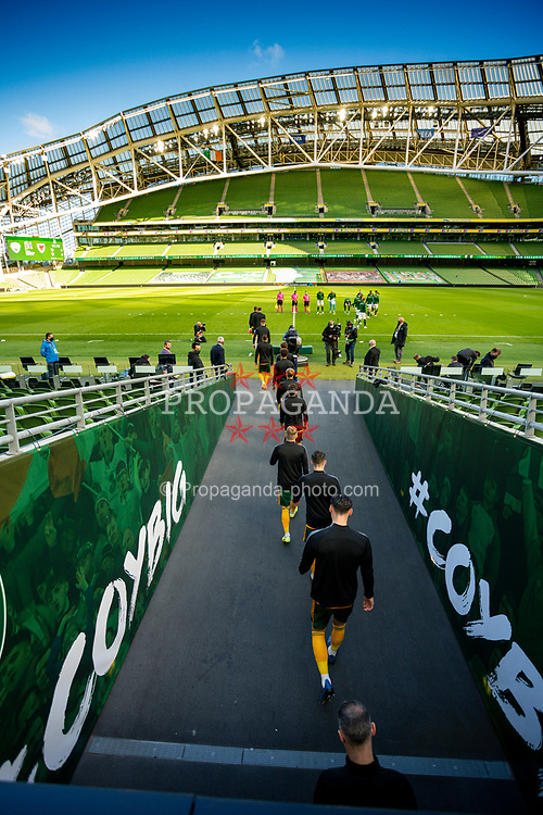 DUBLIN, REPUBLIC OF IRELAND - Sunday, October 11, 2020: Wales players walk out of the tunnel before the UEFA Nations League Group Stage League B Group 4 match between Republic of Ireland and Wales at the Aviva Stadium. The game ended in a 0-0 draw. (Pic by David Rawcliffe/Propaganda)