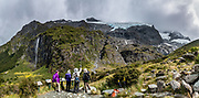 Panorama of Rob Roy Glacier & waterfall, on Rob Roy Track in Mount Aspiring National Park, Southern Alps, Otago region, South Island of New Zealand. In 1990, UNESCO honored Te Wahipounamu - South West New Zealand as a World Heritage Area. This image was stitched from multiple overlapping photos.