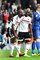Football - 2016 /2017 Championship - Fulham vs Queens Park Rangers<br /> <br /> Sone Aluko of Fulham is consoled by his team mate after missing his injury time penalty kick which would have levelled the scoring at 2 -2 at Craven Cottage<br /> <br /> Credit : Colorsport / Andrew Cowie