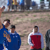 Zuni's Lorenzo Fontenelle competes in shot put at the Wingate Invitational track meet, Saturday, April 6 in Fort Wingate.