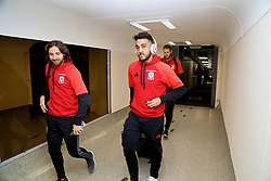 DUBLIN, REPUBLIC OF IRELAND - Thursday, March 23, 2017: Wales' Joe Allen and Neil Taylor arrive at Dublin Airport ahead of the 2018 FIFA World Cup Qualifying Group D match against Republic of Ireland. (Pic by David Rawcliffe/Propaganda)