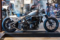 Aaron and Shaun Guardado's (Suicide Machine Company, Long Beach, CA) custom rigid turbo Harley-Davidson on Sunday at the Handbuilt Motorcycle Show. Austin, TX. April 12, 2015.  Photography ©2015 Michael Lichter.