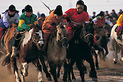 National winter horse race<br /> Jockey's aged 4-12 years and most often girls<br /> Ulaanbaatar race track<br /> Mongolia