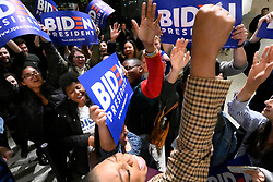 Supporters and campaign staffers cheer after a campaign event of former Vice President Joe Biden and Dr. Jill Biden at the National Constitution Center, in Philadelphia, PA, on March 10, 2020.
