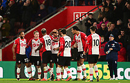 Sofiane Boufal of Southampton celebrates with his team mates after he scores a goal to make it 1-0 .Premier league match, Southampton v West Bromwich Albion at the St. Mary's Stadium in Southampton, Hampshire, on Saturday 21st  October 2017.<br /> pic by Bradley Collyer, Andrew Orchard sports photography.