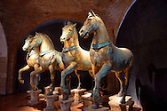 The Four original  bronze horse statues of St Marks Cathedral in the St Marks Museum, Venice, Italy