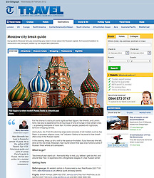 Tearsheet from The Telegraph; Moscow St Basils cathedral