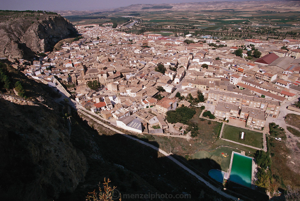 Looking down on the town of Falces, Navarra, Spain.