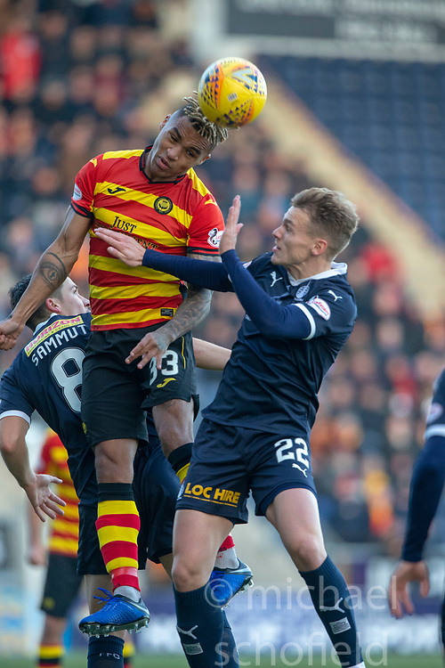 Partick Thistle's Jai Quitongo and Falkirk's Joe McKee. half time : Falkirk 0 v 0 Partick Thistle, Scottish Championship game played 17/11/2018 at The Falkirk Stadium.