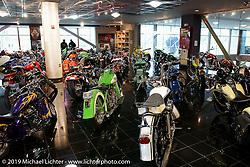 The 2nd floor museum of Arlen Ness' custom bikes at the new Arlen Ness store. Dublin, CA. 2004. Photograph ©2004 Michael Lichter