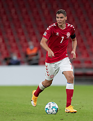 Robert Skov (Danmark) under UEFA Nations League kampen mellem Danmark og Belgien den 5. september 2020 i Parken, København (Foto: Claus Birch).