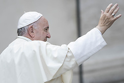 October 19, 2016 - Vatican City, Vatican - Pope Francis greets the faithful as he leaves at the end of his Weekly General Audience in St. Peter's Square in Vatican City, Vatican. Pope Francis on Wednesday said access to food and water is a basic human right, and called on believers and people of good will everywhaere to take personal responsibility for the needs of their neighbors. (Credit Image: © Giuseppe Ciccia/Pacific Press via ZUMA Wire)