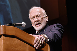 Gemini XII & Apollo XI astronaut Buzz Aldrin speaks during the Humans 2 Mars Summit at the George Washington University in Washington, DC, on May 9, 2017. Photo by Olivier Douliery/ Abaca