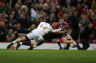 Hallam Amos of Wales scores his teams 1st try. Under Armour 2017 series Autumn international rugby, Wales v Georgia at the Principality Stadium in Cardiff , South Wales on Saturday 18th November 2017. pic by Andrew Orchard, Andrew Orchard sports photography