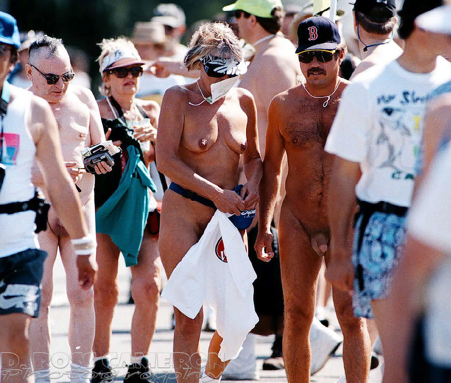 Naked runners pause in Golden Gate Park during the Bay to Breakers 12K, Sunday, May 18, 1997 in San Francisco. (Photo by D. Ross Cameron)