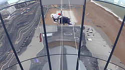Jeannine Brett, 85, abseiling from the British Airways i360 in Brighton during the iDrop charity abseil to raise money for Rockinghorse, the fundraising arm of the Royal Alexandra ChildrenÕs Hospital.