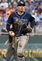 May 15, 2018 - Kansas City, Missouri, U.S. - KANSAS Kansas City, MO - MAY 15:  Tampa Bay Rays first baseman Brad Miller (13) during a Major League Baseball game between the Tampa Bay Rays and the Kansas City Royals on May 15, 2018, at Kauffman Stadium, Kansas City, MO.   (Photo by Keith Gillett/Icon Sportswire) (Credit Image: © Keith Gillett/Icon SMI via ZUMA Press)