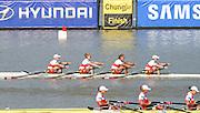 Chungju, South Korea.  Final Women's Quadruple Scull. 2013 FISA World Rowing Championships, Tangeum Lake International Regatta Course.16:26:46  Saturday  31/08/2013 [Mandatory Credit. Peter Spurrier/Intersport Images]<br /> <br /> 1GER W4X, Annekatrin THIELE (b) , Carina BAER (2) , Julia RICHTER (3) , Britta OPPELT (s)<br /> <br /> 2CAN W4X,Emily CAMERON (b) , Katharine GOODFELLOW (2) , Carling ZEEMAN (3) , Antje VON SEYDLITZ-KURZBACH (s)<br /> <br /> 3POLW4X Sylwia LEWANDOWSKA (b) , Joanna LESZCZYNSKA (2) , Magdalena FULARCZYK (3) , Natalia MADAJ <br /> <br /> 4NEDW4X Lisa SCHEENAARD (b) , Chantal ACHTERBERG (2) , Sophie SOUWER (3) , Nicole BEUKERS <br /> <br /> 5USAW4X Kara KOHLER (b) , Zsuzsanna FRANCIA (2) , Esther LOFGREN (3) , Megan KALMOE<br /> <br /> 6ITA W4X. Sara MAGNAGHI (b) , Giada COLOMBO (2) , Laura SCHIAVONE (3) , Gaia PALMA.