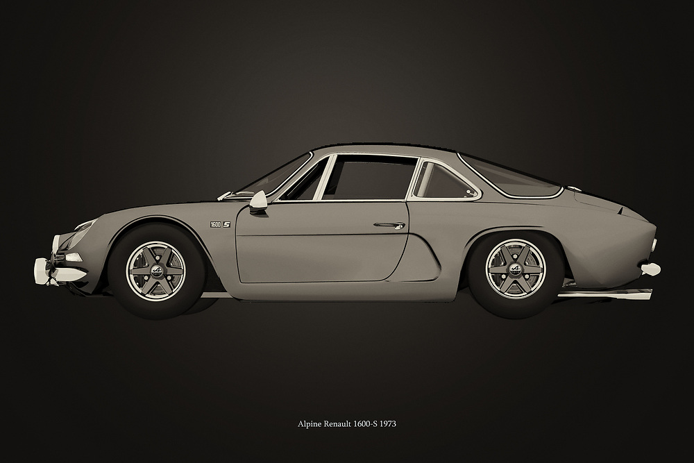 Black and white version of the legendary Alpine Renault 1600-S from 1973<br /> Available as download or as print on various materials such as canvas, poster, art print, on metal or covered with an acrylic to give more depth.<br /> Ideal for the car enthusiast to decorate his/her home or office. -<br /> BUY THIS PRINT AT<br /> <br /> FINE ART AMERICA<br /> ENGLISH<br /> https://janke.pixels.com/featured/alpine-renault-1600-s-from-1973-jan-keteleer.html<br /> <br /> WADM / OH MY PRINTS<br /> DUTCH / FRENCH / GERMAN<br /> https://www.werkaandemuur.nl/nl/shopwerk/Alpine-Renault-1600-S-uit-1973-B-amp-W/704236/132?mediumId=1&size=75x50<br /> -