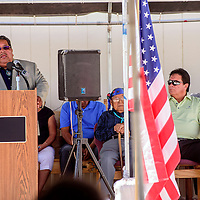 Zuni Gov. Val Panteah opens the dedication of the Zuni Senior Center Modular Buildings funded by the Washington Redskins Original Americans Foundation in Zuni Wednesday.