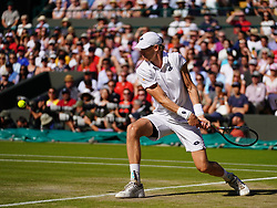 July 11, 2018 - London, England, U.S. - LONDON, ENG - JULY 11: Kevin Anderson (RSA) in action winning his quarter final match on July 11, 2018, defeating number 1 seed Roger Federer (SUI) 13 -11 in the fifth set at the Wimbledon Championships played at the AELTC, London, England. (Photo by Cynthia Lum/Icon Sportswire) (Credit Image: © Cynthia Lum/Icon SMI via ZUMA Press)