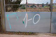 """""""1-O"""" graffiti- referring to the October 1st 2017 Catalan independence referendum, which went ahead, despite violent crackdowns by Spanish police against voters. Photographed Sant Cugat del Valles, Barcelona, Catalonia."""