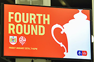 TV in the fans concorse with Fourth Round being displayed before the The FA Cup fourth round match between Bristol City and Bolton Wanderers at Ashton Gate, Bristol, England on 25 January 2019.