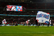The three Lions waves at Wembley during the International Friendly match between England and USA at Wembley Stadium, London, England on 15 November 2018.