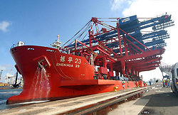 DURBAN 110409<br /> The 245m Zen Hua No23 carrying rail mounted gantry cranes, Durban Harbour.<br /> PICTURE: Jacques Naude