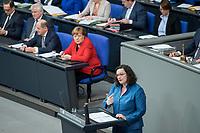 21 MAR 2019, BERLIN/GERMANY:<br /> Andrea Nahles, SPD Farktionsvorsitzende, haelt eine Rede, links: Horst Seehofer, Olaf Scholz, Anagela Merkel, Bundestagsdebatte zur Regierungserklaerung der Bundeskanzlerin zum Europaeischen Rat, Plenum, Deutscher Bundestag<br /> IMAGE: 20190321-01-