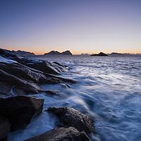 Rocky coastline outside harbor at Kabelvåg, Austvågøy, Lofoten Islands, Norway