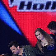 NLD/Hilversum/20120120 - Finale the Voice of Holland 2012, Iris Kroes en Chris Hordijk in de finale