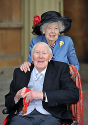 File photo dated 28-02-2017 of Sir Roger Bannister, 87, who was the first man to break the four-minute mile, at Buckingham Palace in central London with his wife Moyra, after receiving his award as a Companion of Honour from the Duke of Cambridge.