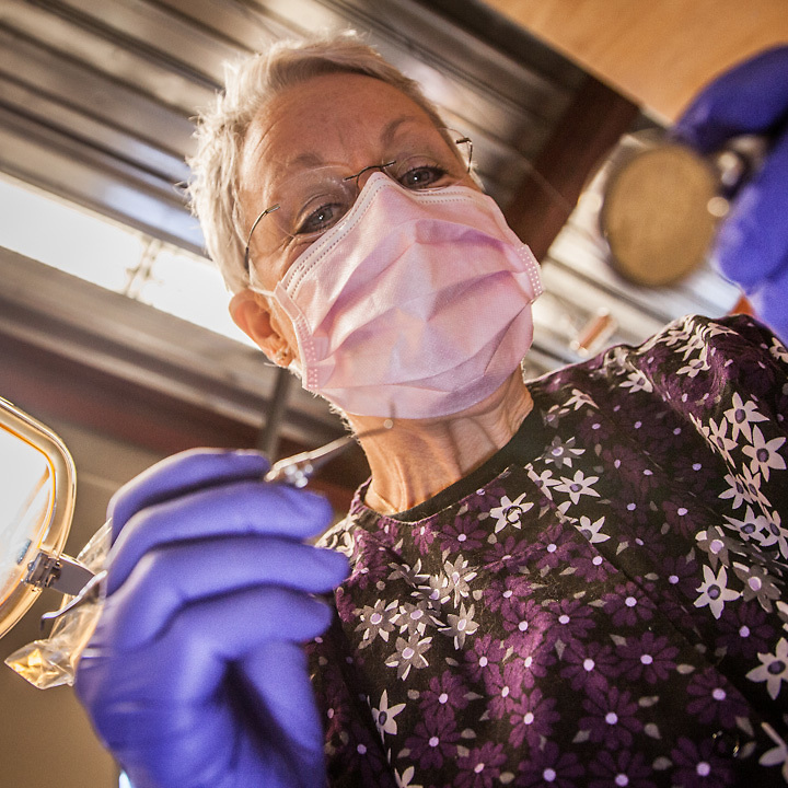 """Dental Hygientist, Ronni Ritter, Anchorage  ravingartdesigns@yahoo.com  """"I enjoy meeting new patients but sometimes I wish I could meet them under different circumstances, less stressful for them."""""""