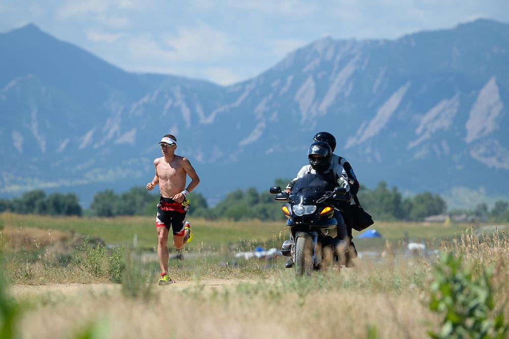 Male pro Matt Chrabot on the run course during the 2014 Boulder Peak Triathlon. <br /> <br /> Video of the run course - https://www.youtube.com/watch?v=AUgH4eIiVfs