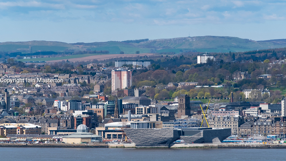 View over River Tay to city of Dundee with new V&A Museum in foreground in Tayside, Scotland, UK.