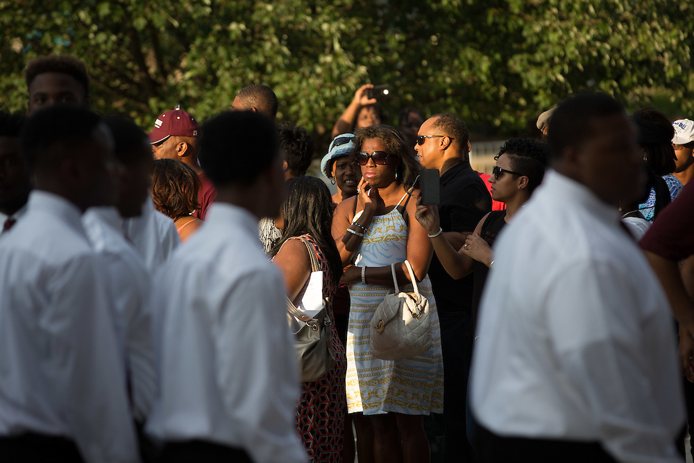 Parents watch as Morehouse College freshmen enter the Martin Luther King Jr. International Chapel for the Parents' Parting Ceremony at the college on Wednesday, Aug. 12, 2015 in Atlanta, Ga. Photo by Kevin D. Liles for The New York Times