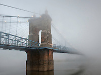 Roebling Suspension Bridge in Fog