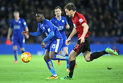 Jeffrey Schlupp of Leicester City (L) and Craig Dawson of West Bromwich Albion in action - Mandatory byline: Jack Phillips/JMP - 01/03/2016 - FOOTBALL - King Power Stadium - Leicester, England - Leicester City v West Bromwich Albion - Barclays Premier League