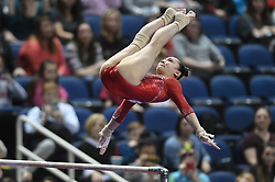 March 2, 2019 - Greensboro, North Carolina, US - YUFEI LU from China competes on the uneven bars at the Greensboro Coliseum in Greensboro, North Carolina. (Credit Image: © Amy Sanderson/ZUMA Wire)