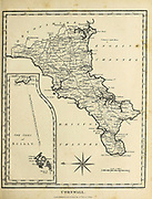 Cornwall is a ceremonial county in South West England. It is recognised as one of the Celtic nations and is the homeland of the Cornish people. Copperplate engraving From the Encyclopaedia Londinensis or, Universal dictionary of arts, sciences, and literature; Volume V;  Edited by Wilkes, John. Published in London in 1810