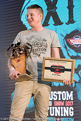 29 year old Dima Golubchikov of Zillers Garage Moscow took the Best of Show award along with first place in the Freestyle category  for his completely handmade custom 500 cc Jawa with BSA transmission at the Custom and Tuning Show, the custom bike show portion of the big Motor Spring bike show in Moscow, Russia. Sunday April 23, 2017. Photography ©2017 Michael Lichter.
