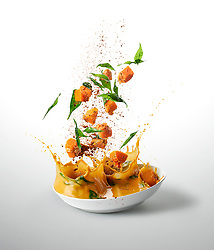 Sweet Potato And Squash Curry <br /> - Ten-A-Day is series created for Men's Health magazine promoting healthy recipes. The levitating images shot dynamic approach to food phoography.