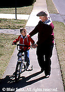 Active Aging, Senior Citizens, Retired, Activities, Grandfather and Grandson Activities, Loving Relationship, Grandson Learns to Ride Bike, Helpful Grandfather