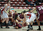 Shiprock's Leayah Banally dives after a loose ball during the second half. Shiprock defeated Portales 35-33 in the AAA semifinals Thursday morning in Albuquerque at The Pit.