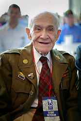 06 June 2014. The National WWII Museum, New Orleans, Lousiana. <br /> WWII veteran Sgt Orland Chaisson, 1st Infantry Division is honored with the French Legion of Honor medal. <br /> Photo; Charlie Varley/varleypix.com