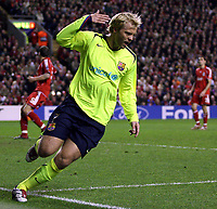 Photo: Paul Thomas.<br /> Liverpool v Barcelona. UEFA Champions League. Last 16, 2nd Leg. 06/03/2007.<br /> <br /> Eidur Gudjohnsen of Barcelona celebrates his goal.