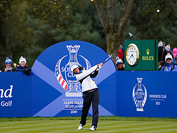 Auchterarder, Scotland, UK. 14 September 2019. Saturday afternoon Fourballs matches  at 2019 Solheim Cup on Centenary Course at Gleneagles. Pictured; Celine Boutier of Team Europe tee shot on 11th hole. Iain Masterton/Alamy Live News